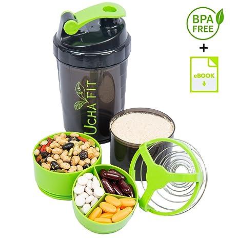 Protein Shaker - Botella mezcladora de proteína fitness UchaFit. Botella portable para el gimnasio con
