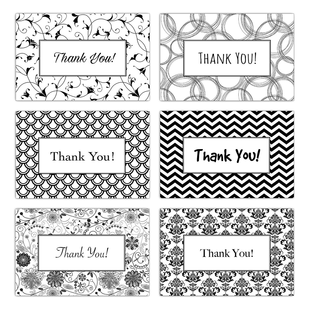 60 Postcards - Thank You Note Cards with Black and White Patterns (6 Designs) - 4x6 Double Sided Greetings