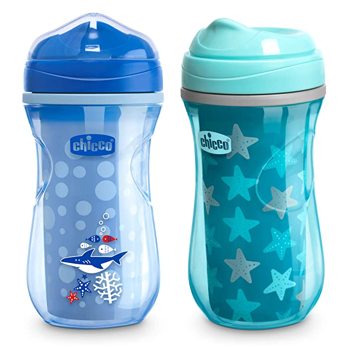 Chicco Insulated Rim Spout Trainer Spill Free Baby Sippy Cup, 12 Months+, Teal/Blue, 9 Ounce (Pack of 2)