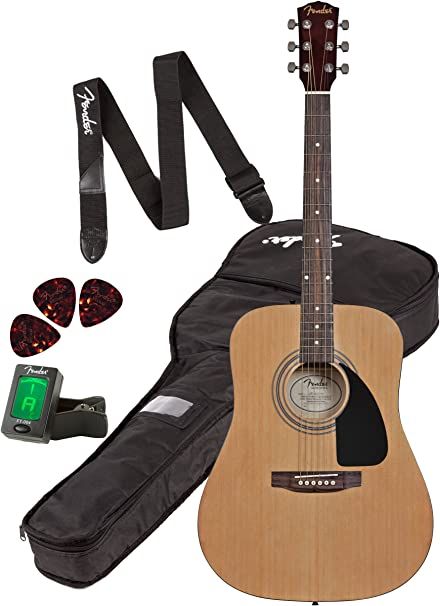 Fender FA-100 Dreadnought Guitarra Acústica Pack,: Amazon.es ...