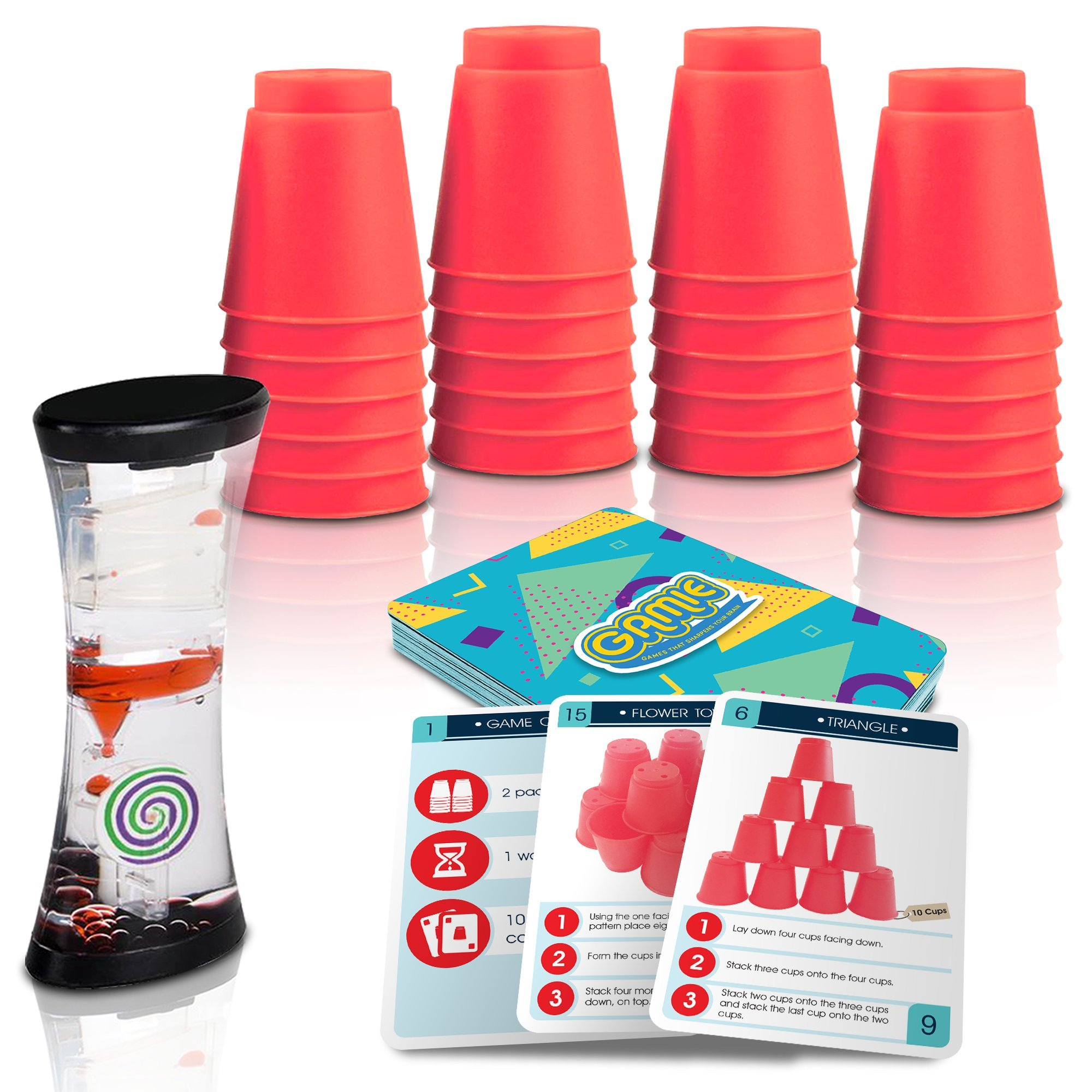 Cups Game w/ 18 Fun Challenges & Water Timer by Gamie, 24 Stacking Cups, Sturdy Plastic, Classic Quick Stacking Cup Game for Kids, Amazing Family Time (Red)