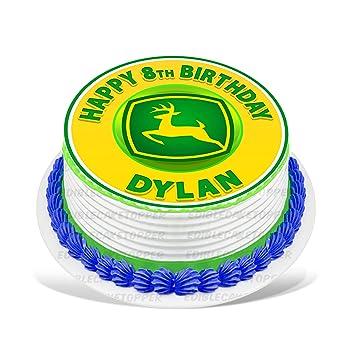 John Deere Edible Cake Topper Personalized Birthday 8 Round