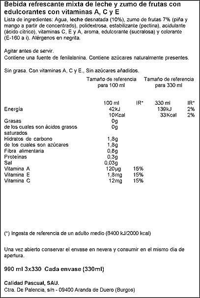 Bifrutas - Tropical Zero - Bebida Refrescante de Leche y Zumo de Frutas - 3 x 330 ml: Amazon.es: Alimentación y bebidas