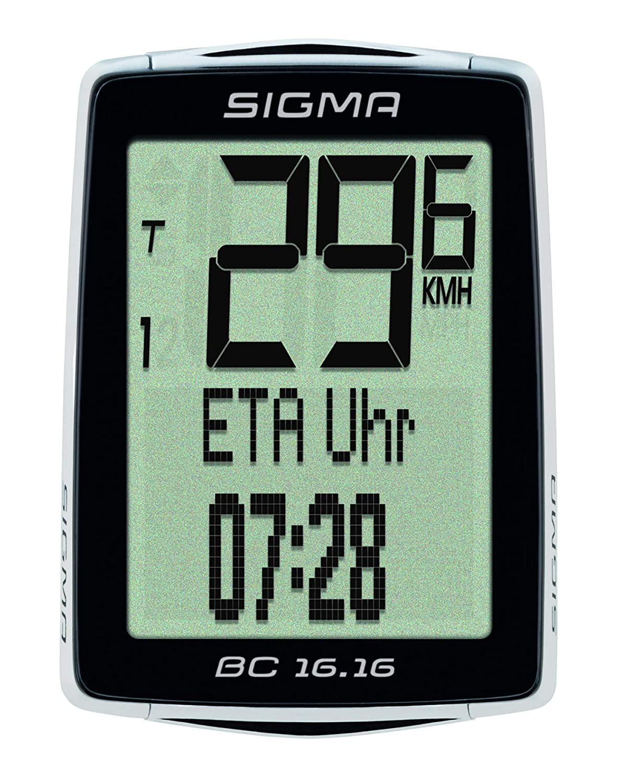 Kabelloser Fahrradtacho Ankunftsanzeige 16 Funktionen Sigma Sport Fahrrad Computer BC 16.16 STS Schwarz