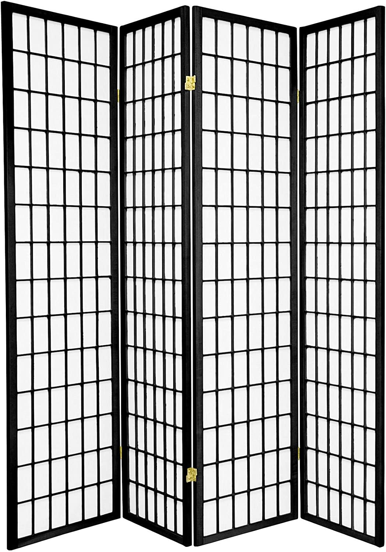 Legacy Decor 4 Panels Japanese Oriental Style Room Screen Divider Black