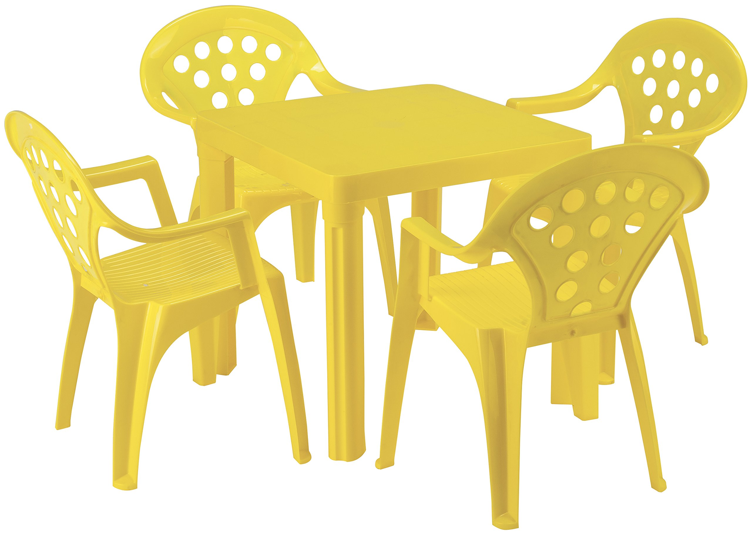 Baby Lulu Grand Soleil Children's Outdoor and Indoor Table and Chair Set - 4 Chairs - Made in Italy to European Standards with PolyPure - (Yellow)