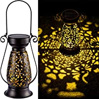 LeiDrail Solar Lantern Outdoor Tabletop Lights for Table Pathway Garden Yard Solar Powered LED Hanging Light Metal…