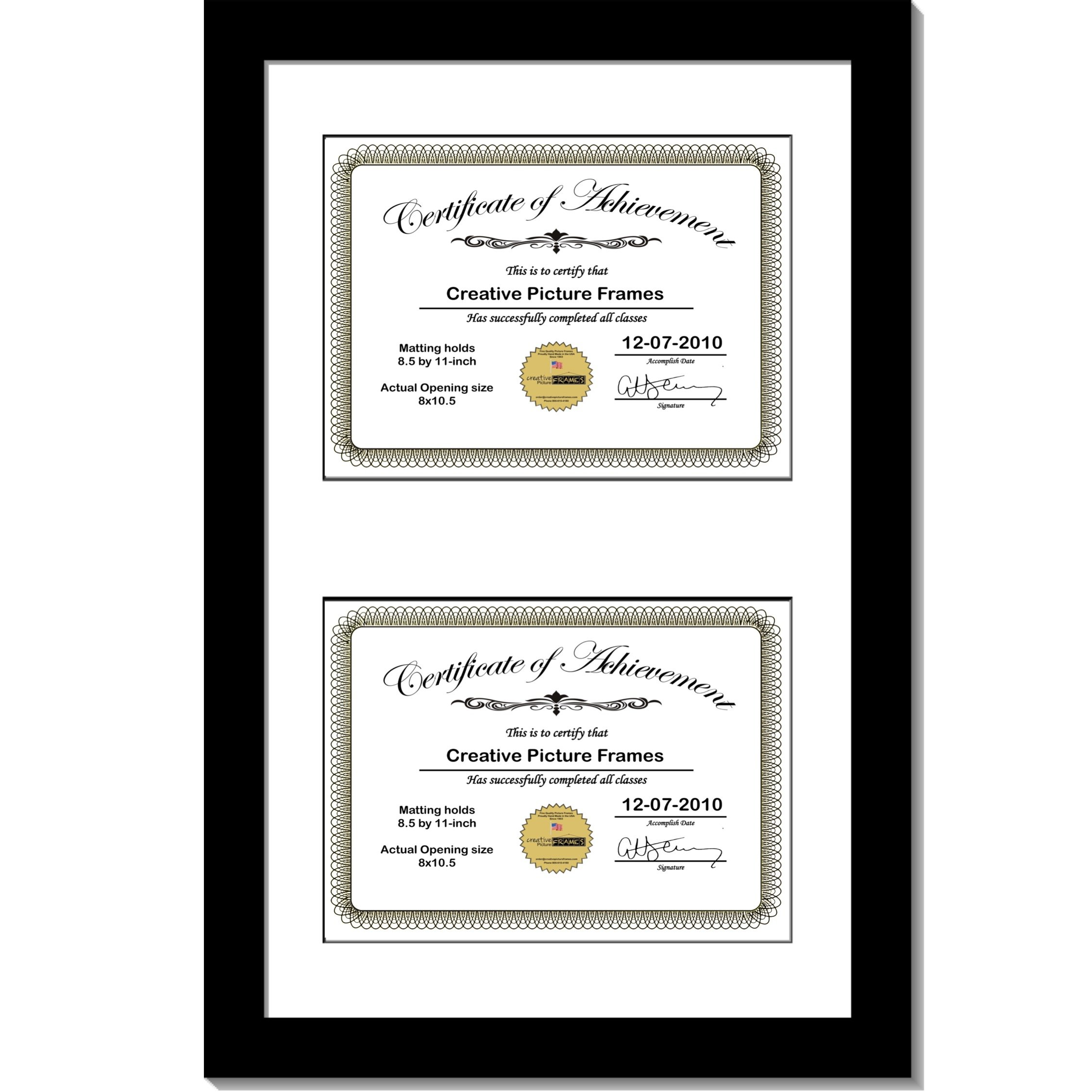 CreativePF [14x20bk-w] Black Vertical Double Diploma Frame with 2 Opening White Mat, Holds 2-8.5x11-inch Documents with Wall Hanger
