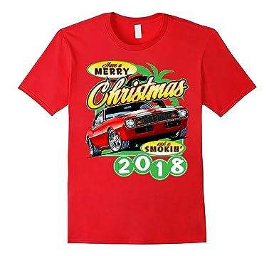 Amazon Com Muscle Car Christmas T Shirt Clothing