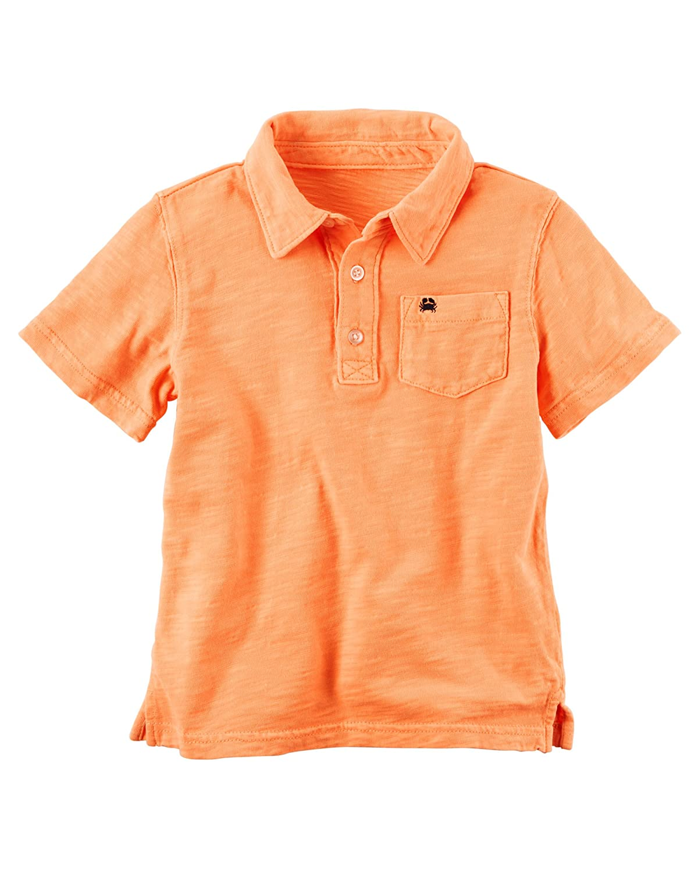 Carter's Boys' Garment-Dyed Slub Jersey Polo, Orange, 3m