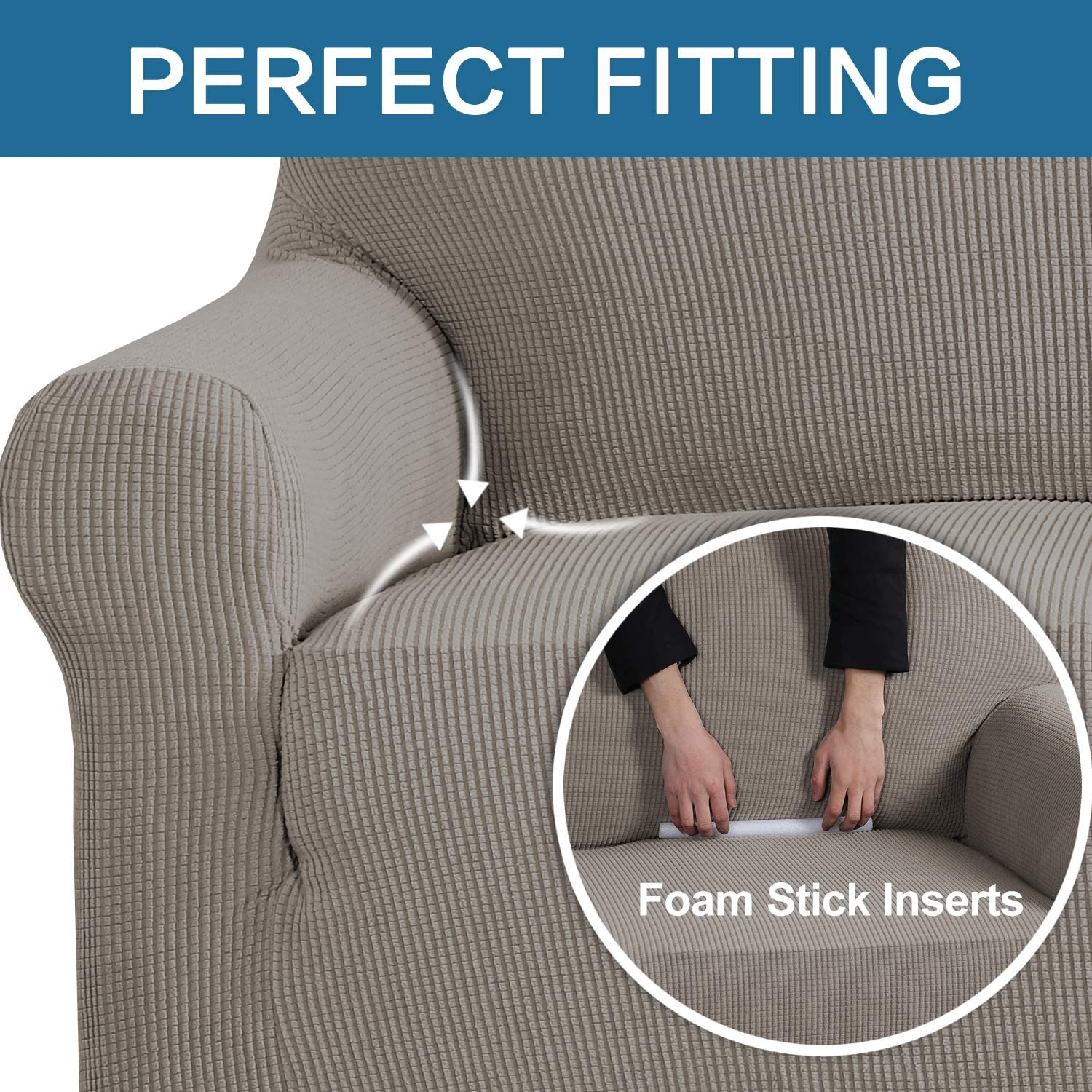 Stretch Couch Cover Sofa Covers Furniture Covers Sofa Slipcover Feature High Spandex Textured Lycra Small Checks Jacquard Fabric with Elastic Bottom Sofa 72-96 Wide, Sand