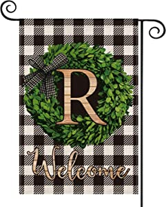 AVOIN Boxwood Wreath Monogram Initial Family Last Name R Garden Flag Vertical Double Sided, Welcome Buffalo Check Plaid Rustic Farmhouse Flag Yard Outdoor Decoration 12.5 x 18 Inch
