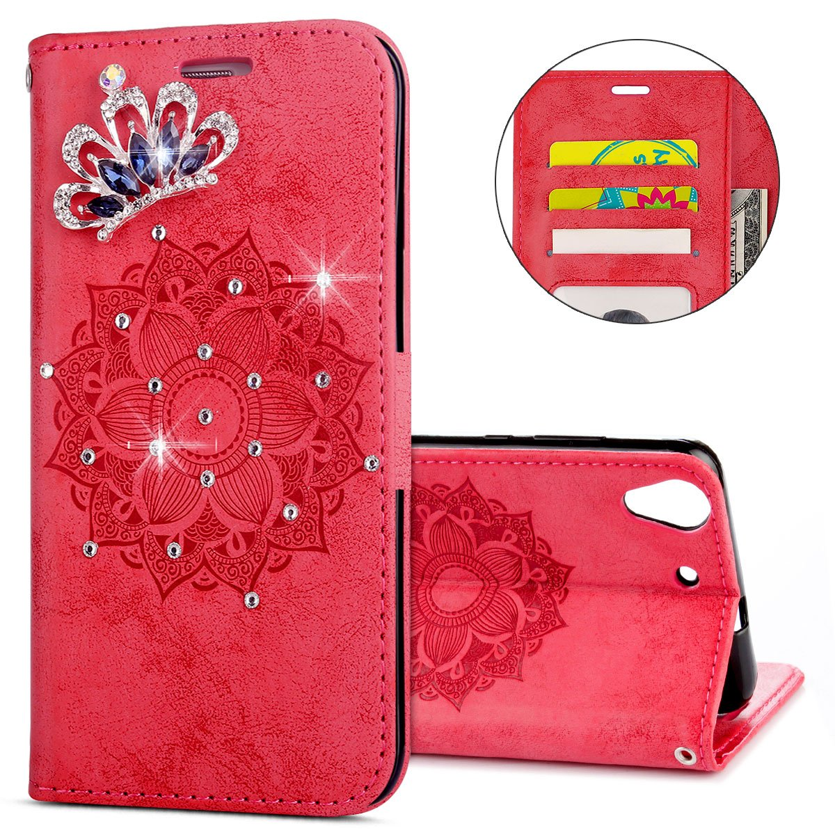 IKASEFU Huawei Y6 Case,3D Clear Crown Rhinestone Diamond Bling Glitter Wallet with Card Holder Emboss Mandala Floral Pu Leather Magnetic Flip Case Protective Cover for Huawei Y6,Red