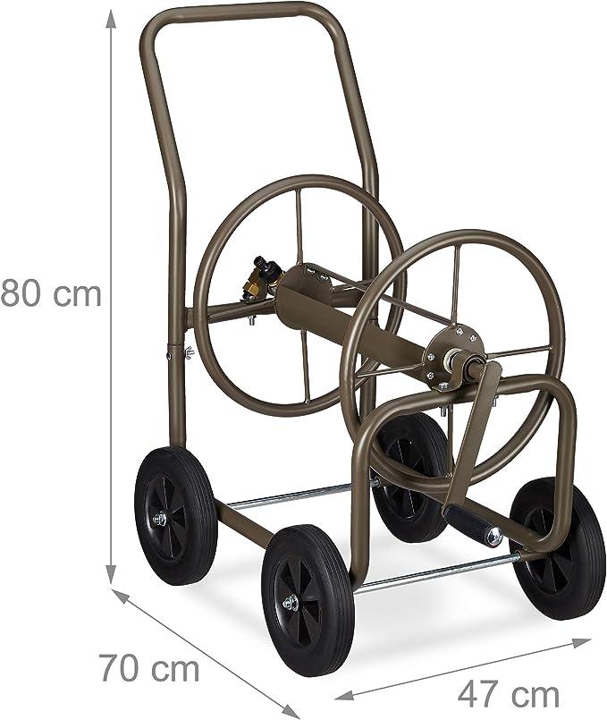 Wandschlauchhalter HBT: 42 x 53 x 46 cm Relaxdays Schlauchtrommel gr/ün Stahl 3//4 Anschl/üsse f/ür 60 m Schlauch