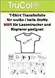 25 Blatt DIN A4 T-Shirt Transfer-Folie Transferpapier für helle Textilien NUR für LASERDRUCKER und Kopierer.