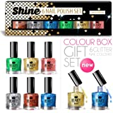 6 x Luxury Nail Polish 6 Different Glitter Colours Shine Gift Box High Quality