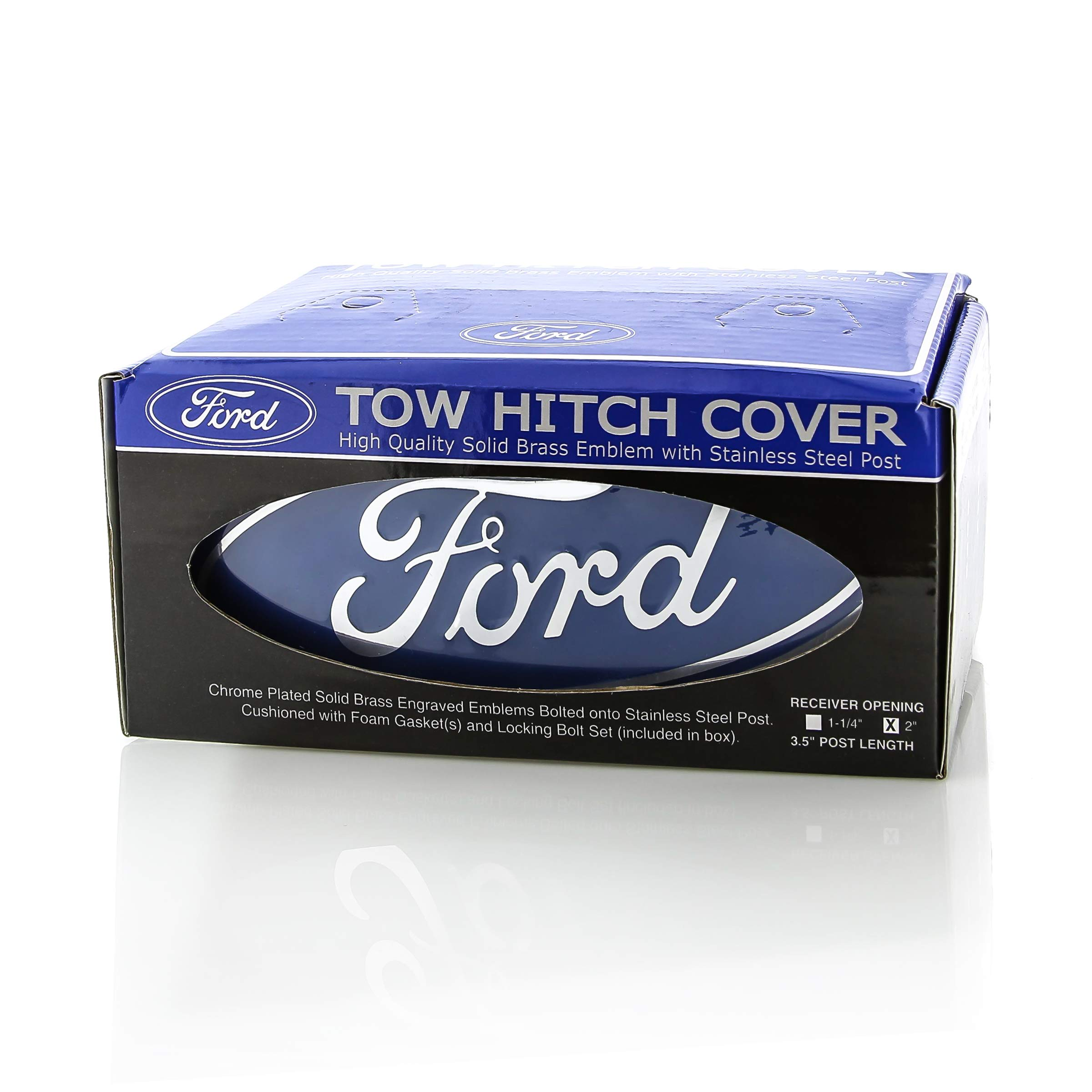 Ford Blue Logo & Corp. Block Emblem Metal Trailer Tow Hitch Cover by Ford