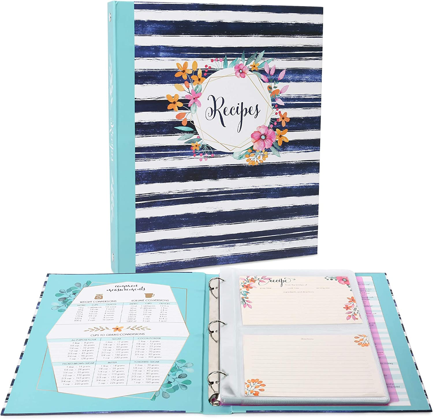 """LotFancy Recipe Binder, 8.5"""" x 10.2"""", with 60 Blank Recipe Cards 4x6, 30 Plastic Page Protectors, 3 Tabbed Dividers, 6 Labels - Kitchen Recipe Card Cookbook Binder Organizer Kit"""