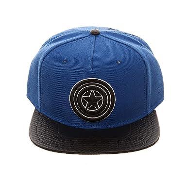 dd0b4d608cafc Bioworld Men s Captain America - Marvel Comics - Carbon Fiber Snapback Hat  O S Blue