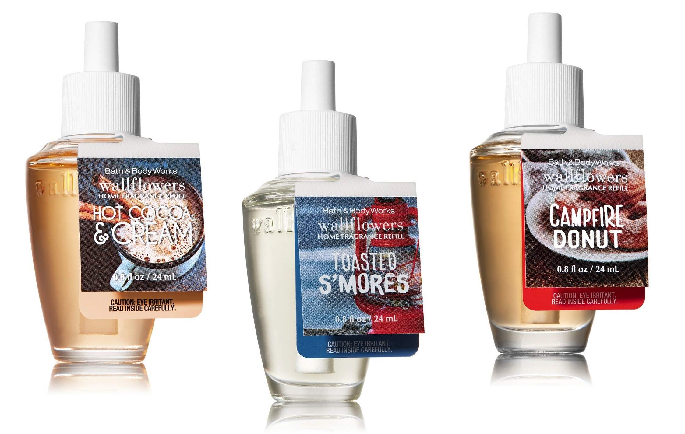 Bath and Body Works Fall Treats Wallflower Trio -- Hot Cocoa and Cream, Campfire Donut, Toasted S'mores Marshmallows