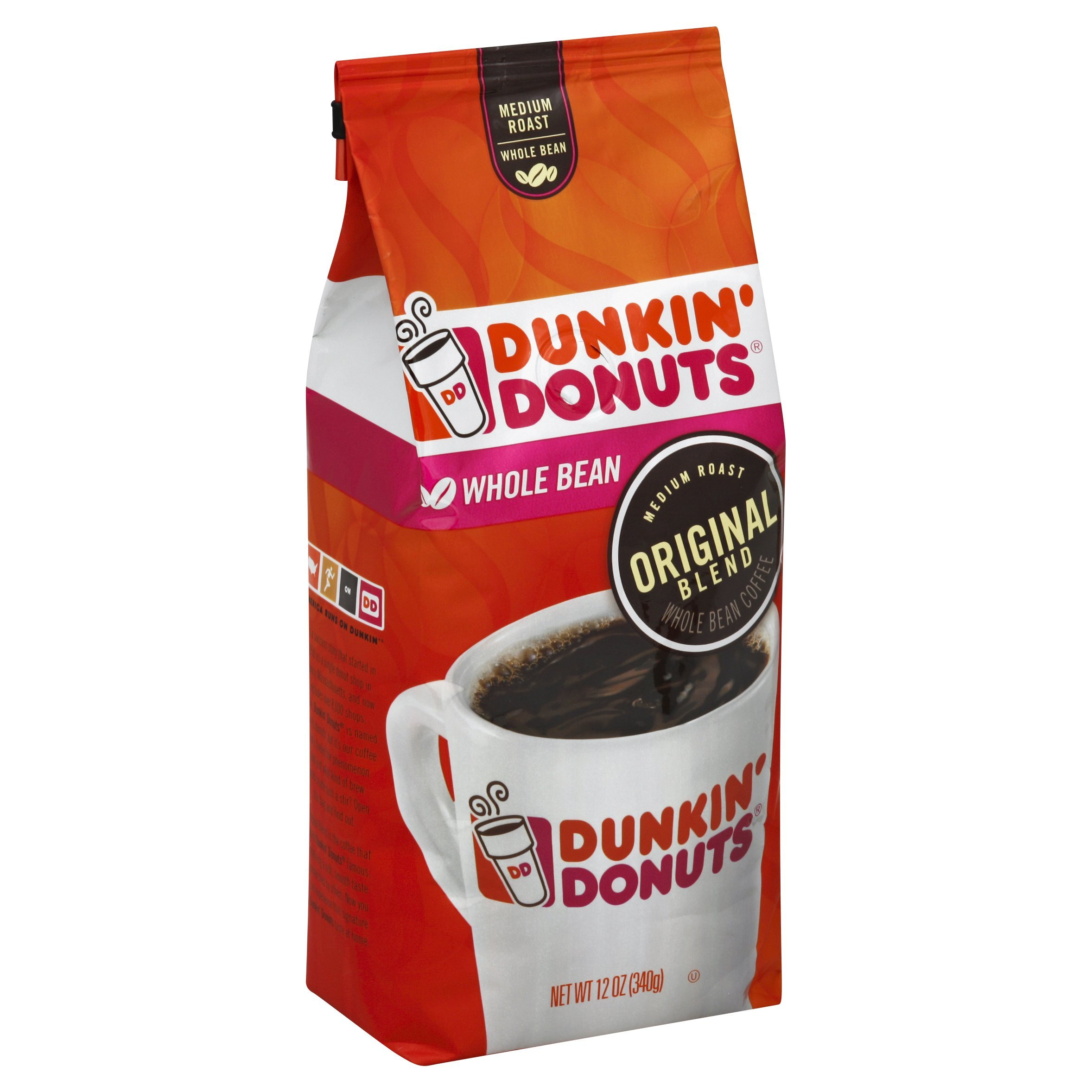 Dunkin' Donuts Original Blend Medium Roast Whole Bean Coffee, 12 Ounce, Pack of 6 by Dunkin' Donuts