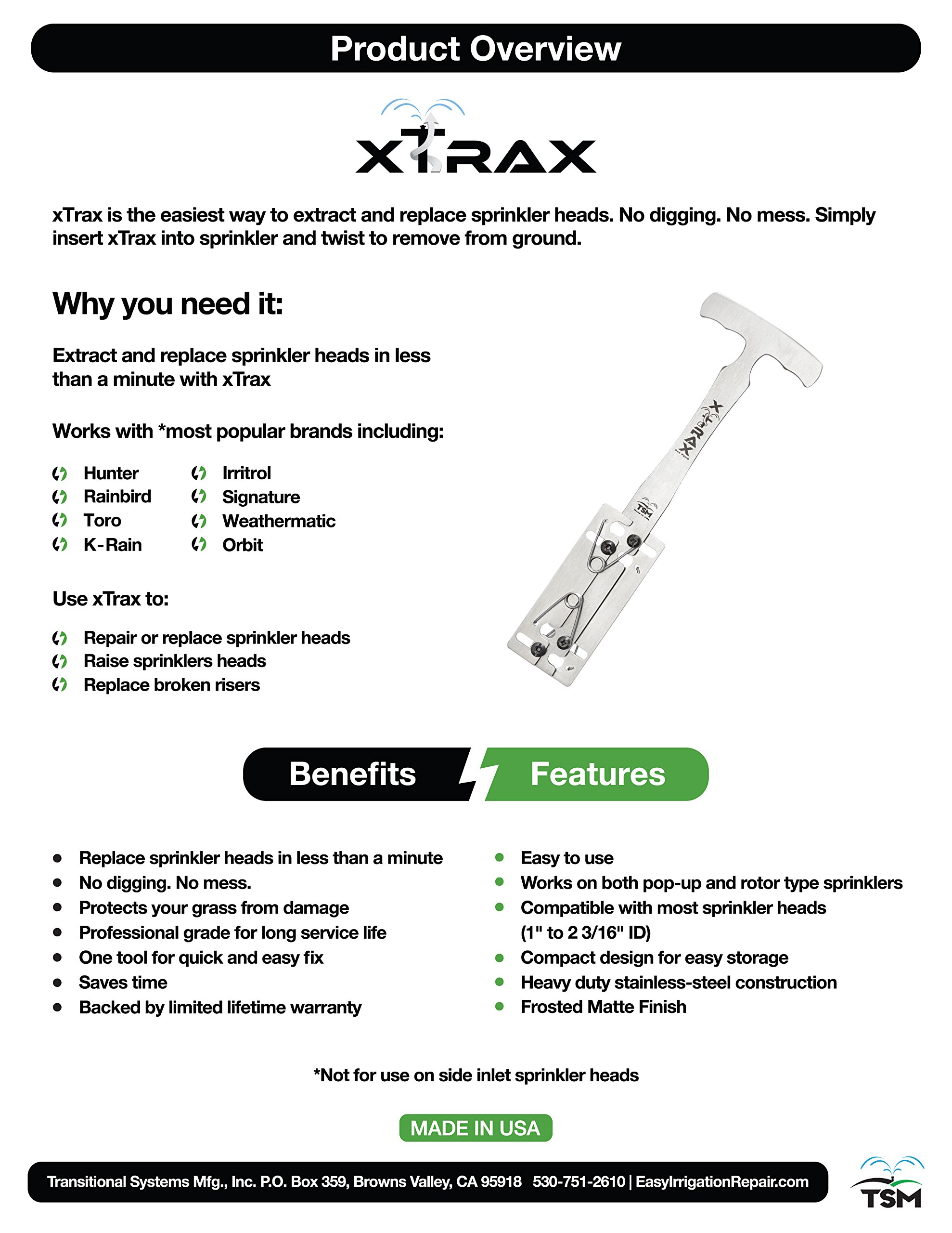xTrax - Sprinkler Removal and Repair Made Easy - Extract and Replace Sprinkler Heads in Less Than a Minute