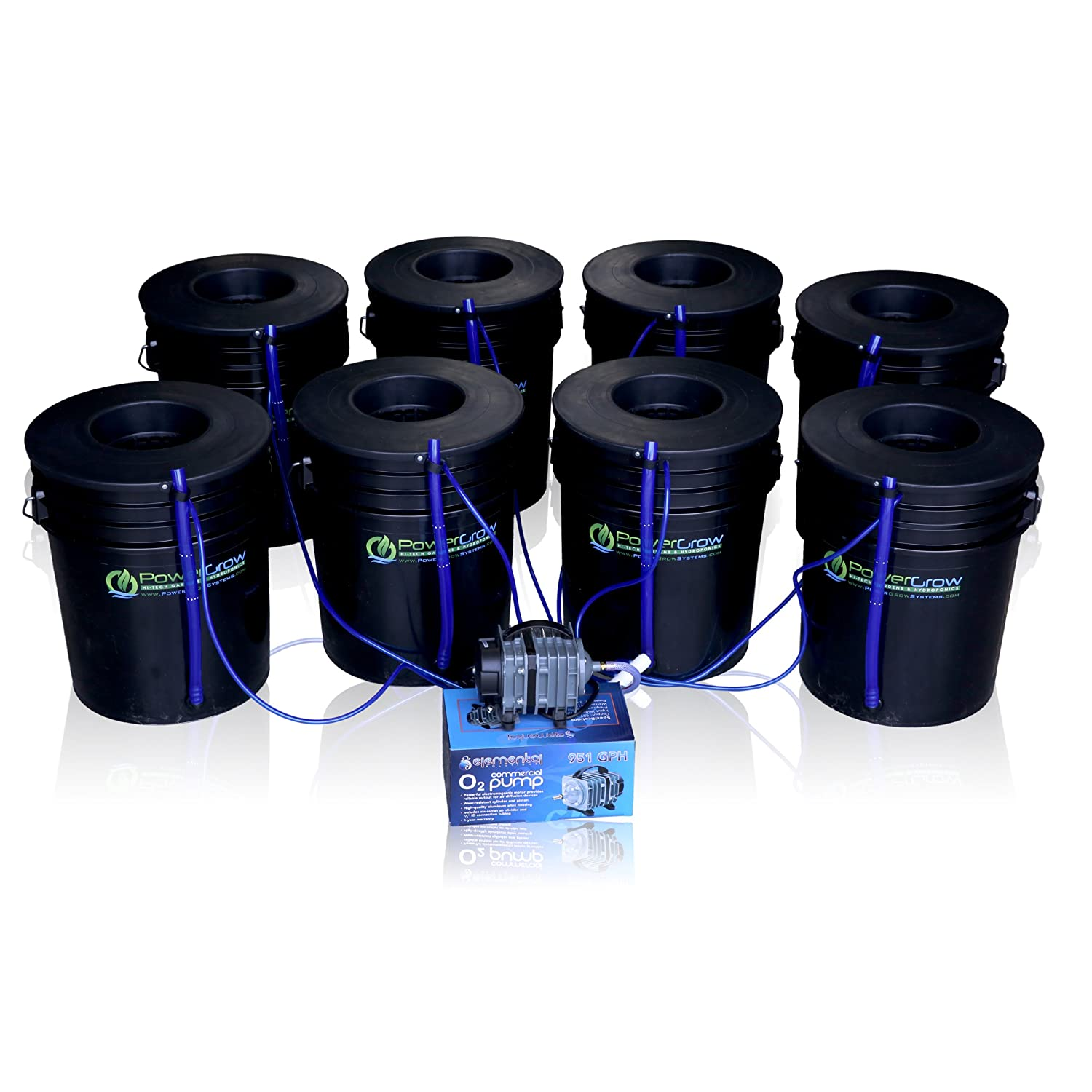 PowerGrow DWC 8 Bucket Kit – 6-inch Lids