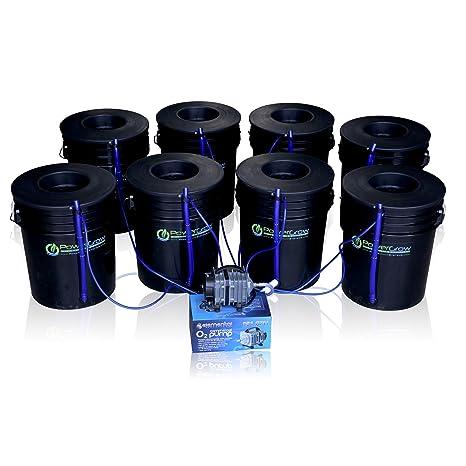 Deep Water Culture (DWC) Hydroponic Bubbler 8 Bucket Kit with 6