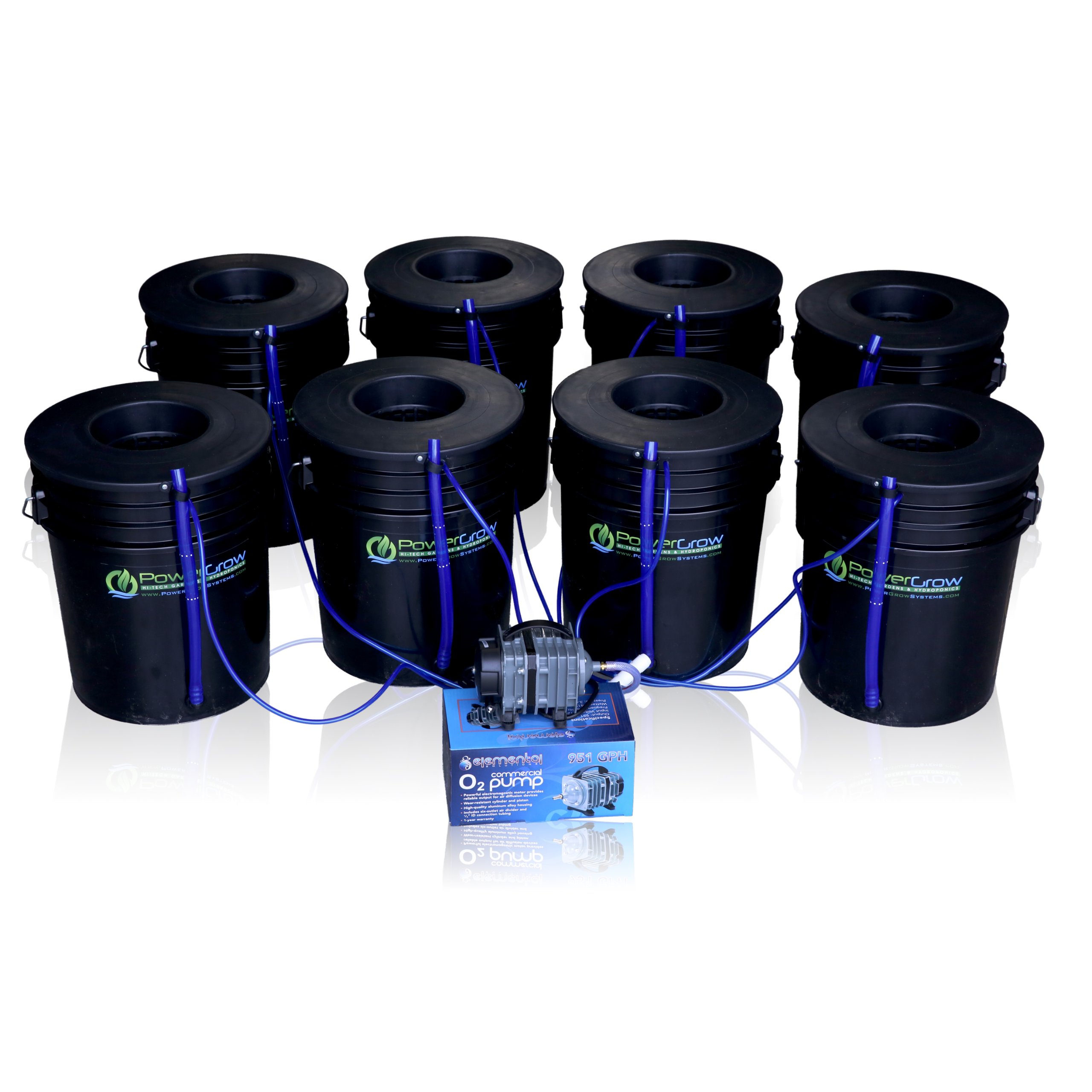 Deep Water Culture (DWC) Hydroponic Bubbler 8 Bucket Kit with 6'' Lids by PowerGrow ® Systems by PowerGrow
