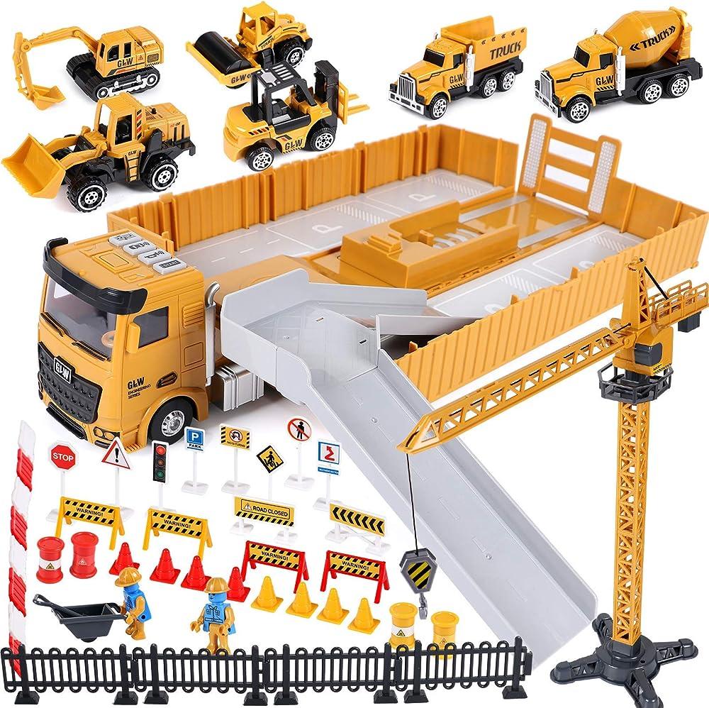Cantiere giocattolo per bambini con gru escavatore bulldozer camion betoniera rullo compressore Tacobear B08SLHPN71