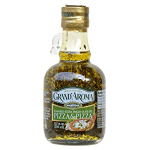 Mantova Grand'Aroma Pizza Flavored Extra Virgin Olive Oil, made in Italy, cold-pressed, 100% natural, heart-healthy cooking oil perfect for pizza dough, pasta, garlic bread, or sauces, 8.5 oz
