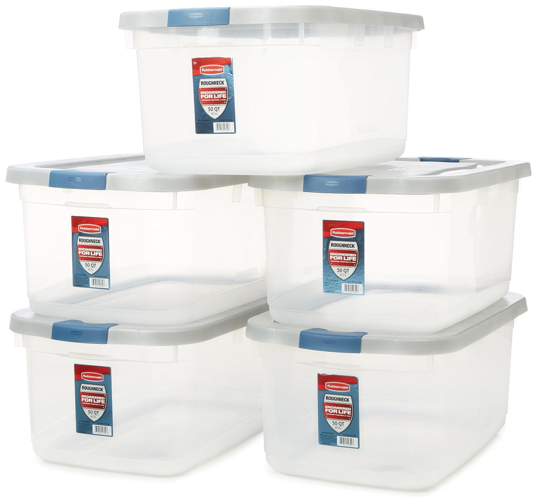 amazon com rubbermaid roughneck clear storage container 50 qt