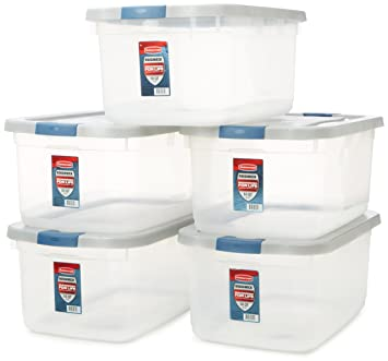 plastic storage bins. rubbermaid roughneck clear storage container, 50 qt., base, grey and black plastic bins