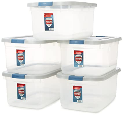 Great Rubbermaid Roughneck Clear Storage Container, 50 Qt, Clear Base, Grey And  Black Lid
