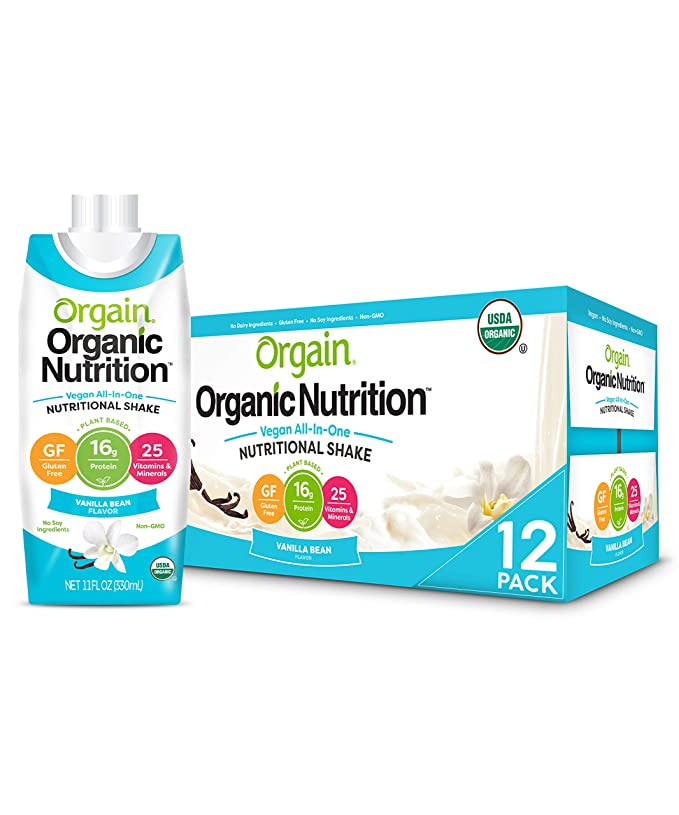 Amazon.com : Orgain Organic Vegan Plant Based Nutritional Shake, Vanilla Bean - Meal Replacement, 16g Protein, 25 Vitamins & Minerals, Dairy Free, Gluten Free, 11 Ounce, 12 Count (Packaging May Vary) : Grocery & Gourmet Food