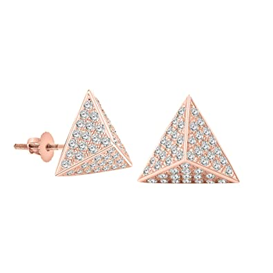 e09d2ef19 Amazon.com: OMEGA JEWELLERY 14K Gold Over Silver Round-Cut Genuine Diamond  Pyramid Stud Earrings with Screw Back (Rose-Gold-Plated-Silver): Jewelry