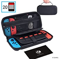 CAMKIX Compatible Case Replacement for Nintendo Switch - Protects your Nintendo Switch, Joy Cons, Games and Accessories - Protective Hard Shell Storage - Fits 20 Games - Zippered Mesh Pocket