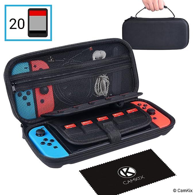 CamKix Étui compatible avec Nintendo Switch - Protège votre Console Nintendo Switch, Joy Con, Jeux et Accessoires - Sac de Rangement Hard Shell / Sac de Voyage - S'adapte à 20 Jeux