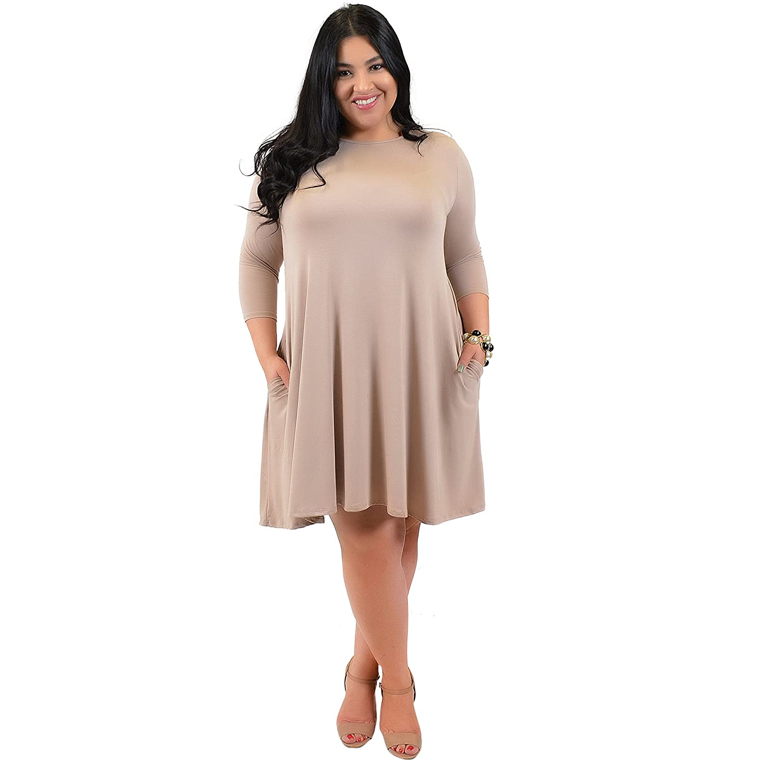 0979eb1d826 Stretch is Comfort Women s Plus Size ¾ Sleeve Pocket Flowy Trapeze Tunic  Dress