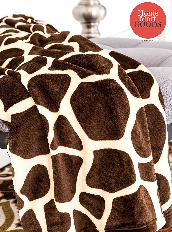 "Home Must Haves Brown Ultra Soft Micro Plush Luxurious Flannel Fur All Season Premium Bed Blanket (Twin 75""x80"", Giraffe Skin Print), Beige"