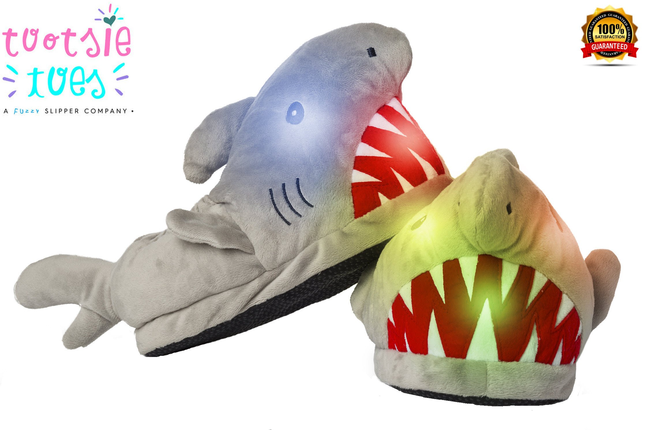 Funny Furry Fuzzy Fun Animal Character Shark LED Light-Up CHILD Slipper FOR Boys or Girls or Kids Unisex - Child Ages 2-10