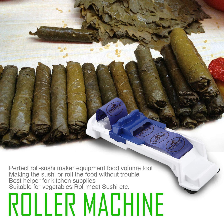 FairytaleMM Rotolo di Strumenti di Cottura di Carne vegetale Sushi Maker Utensili di Cottura a Rotazione Innovativa Macchina per Verdure con Rullo vegetale, Bianca con Blu