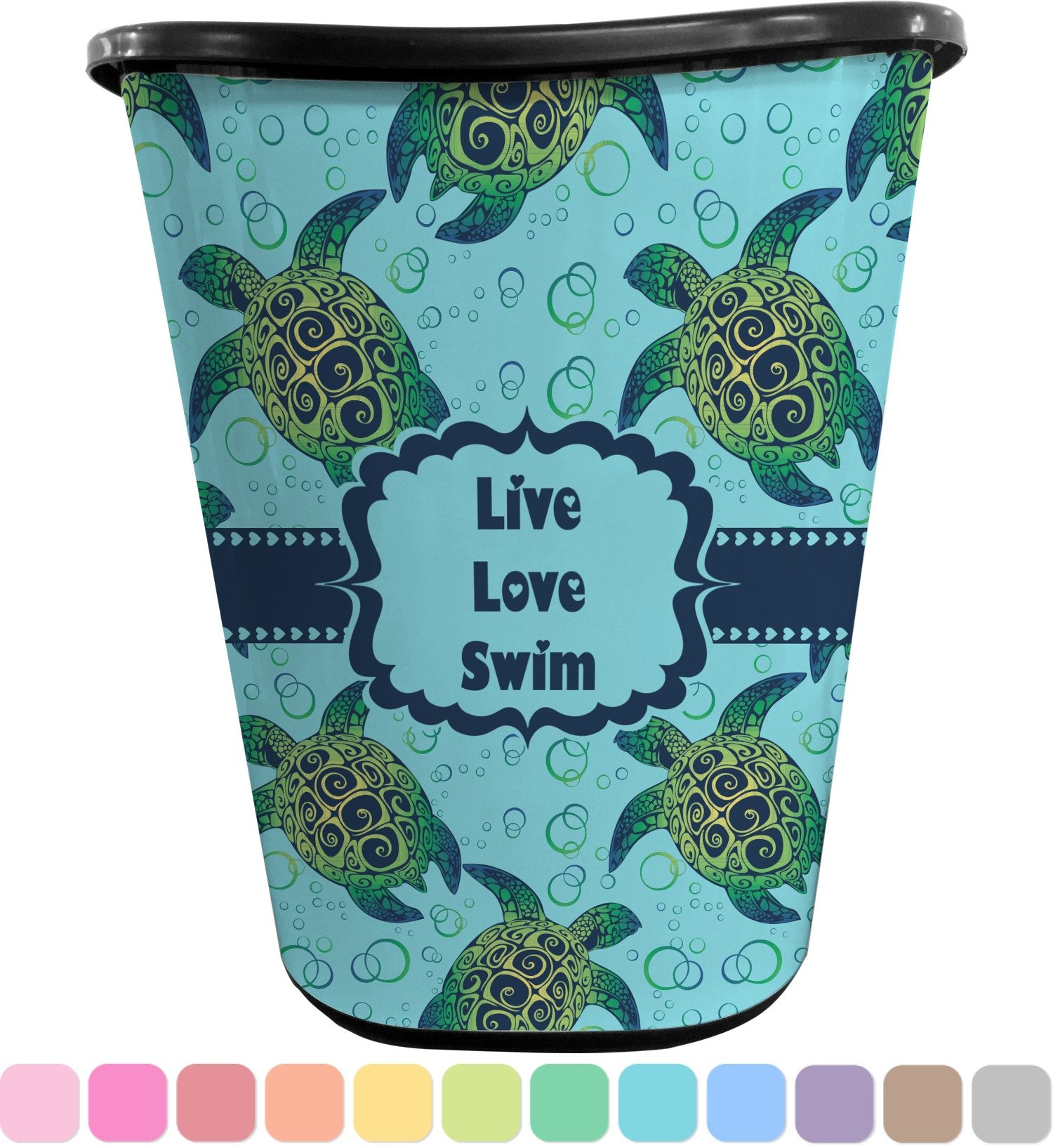 RNK Shops Sea Turtles Waste Basket - Double Sided (Black) (Personalized)