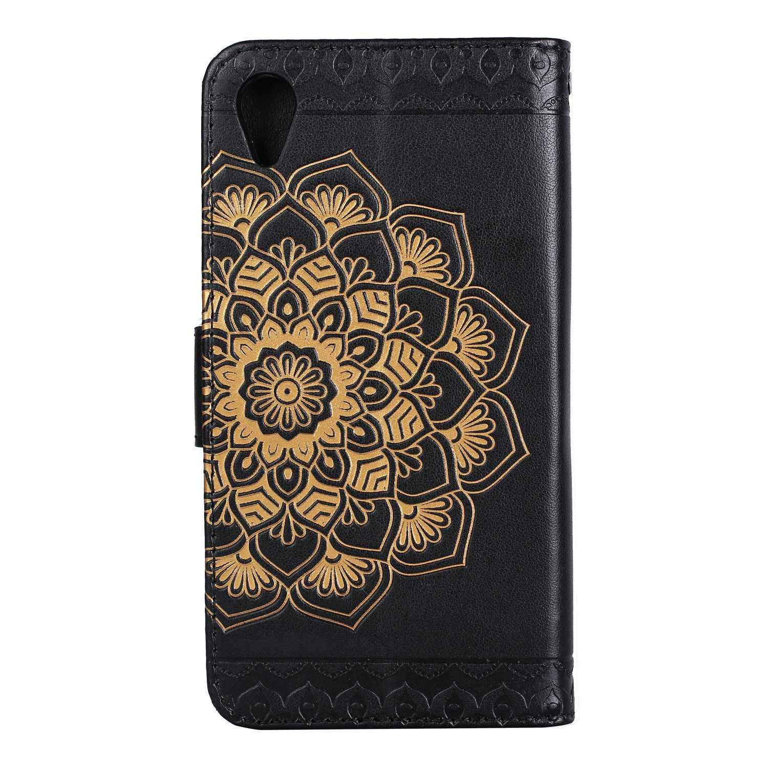 Soft Tactile Elegant Case Cover with Embedded Magnetic Closure for Sony Xperia XA1- Brown Casake Sony Xperia XA1 Wallet Leather Case, Sony Xperia XA1 Case Art