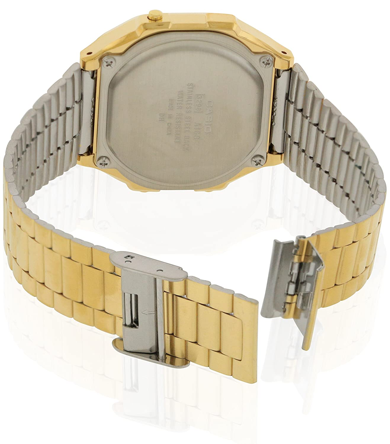 27d70da8f06 Amazon.com  Casio A168WG-9 Men s Vintage Gold Metal Band Illuminator  Chronograph Alarm Watch  Watches