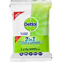 Dettol 2 in 1 Hands and Surfaces Anti-Bacterial Wipes 3 x 15 Pack