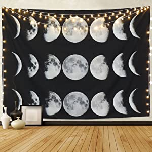 "Martine Mall Tapestry Moon Phase Change Tapestry Wall Tapestry Wall Hanging Tapestries Moon Constellations Tapestry Indian Wall Decor (Moon Phase Change, 51.2"" x 59.1"")"