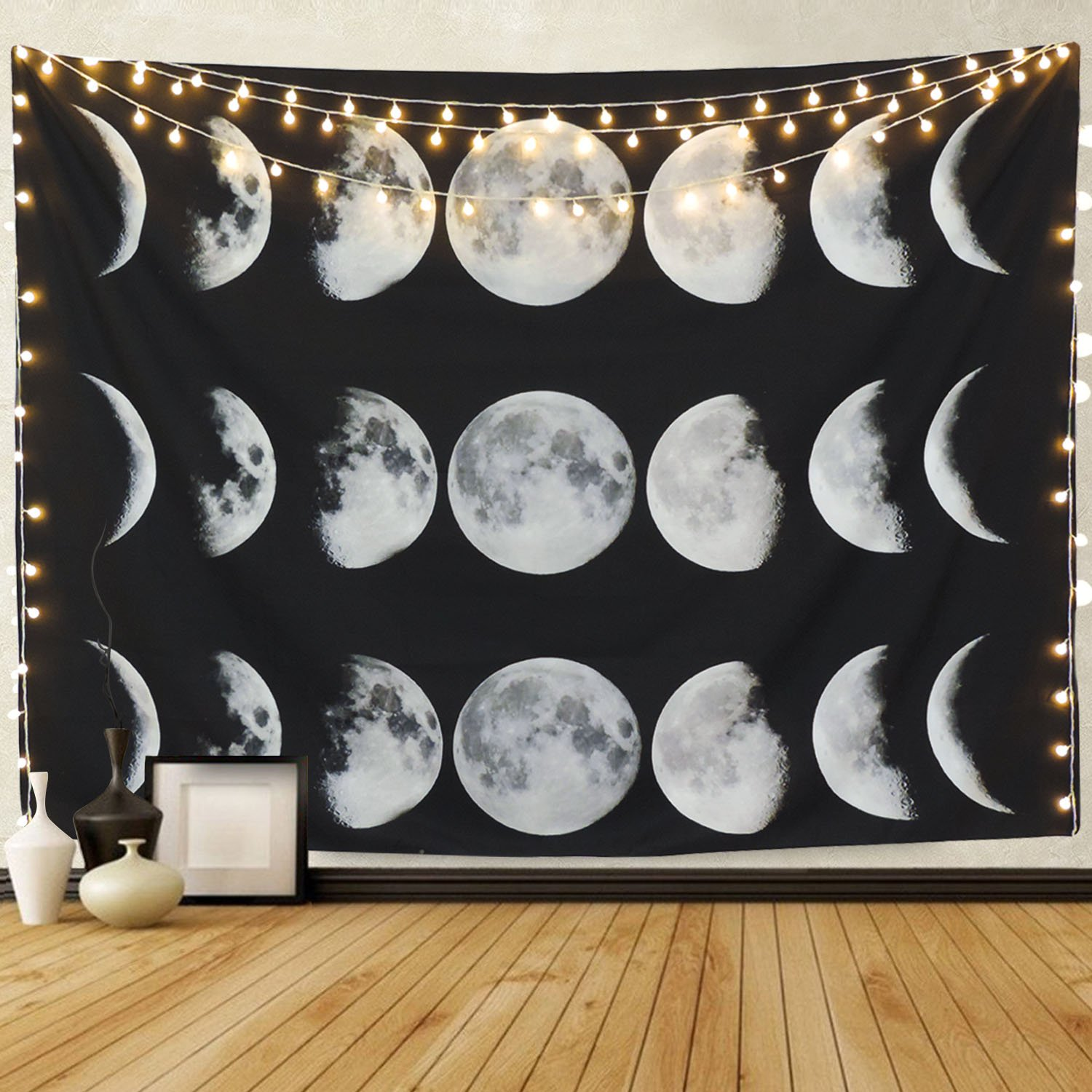 Martine Mall Tapestry Moon Phase Change Tapestry Wall Tapestry Wall Hanging Tapestries Moon Constellations Tapestry Indian Wall Decor (Moon Phase Change, 51.2'' x 59.1'')