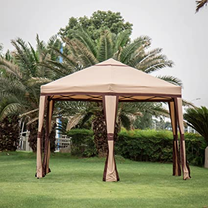 amazon com kinbor 11 8 x 10 2 outdoor patio iron hexagon gazebo rh amazon com outdoor gazebo canopy rental pergola gazebo canopy
