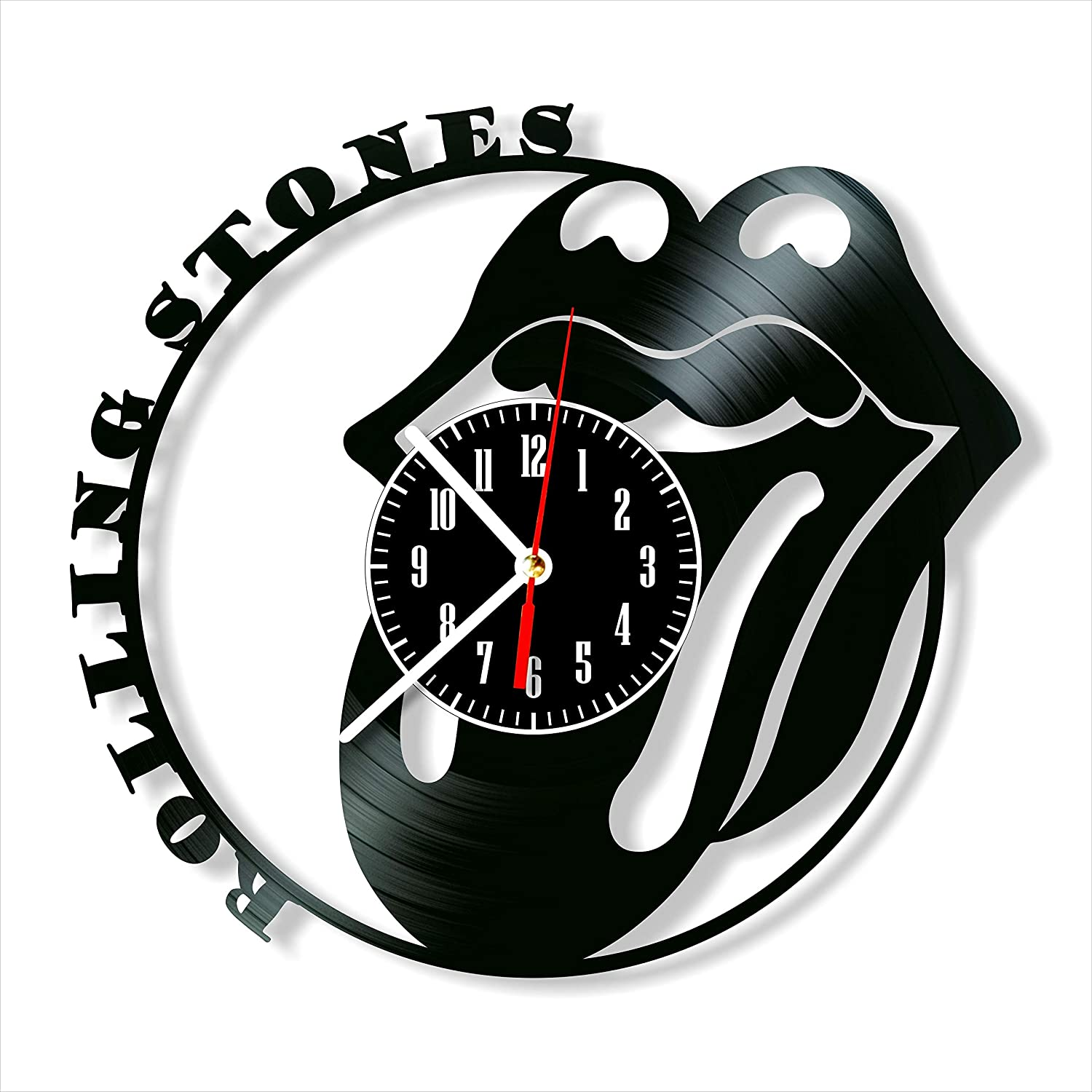 "Rolling Stones Clock Vinyl Clock, Rolling Stones Wall Clock 12"", Unique Art Decor, The Best Home Decorations"
